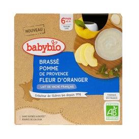 BabyBio Brassé Pomme, Fleur d'Oranger 4 x 85g