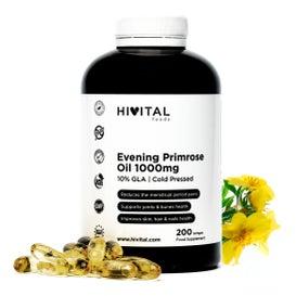 Hivital Foods Aceite de Onagra 1000 mg con 10% Omega 6 GLA 200 perlas de Aceite Natural (Más de 6 meses)