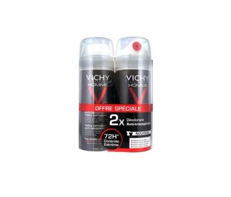 Vichy uomo antitraspirante arosol triplice diffusione 72h 2x 150 ml