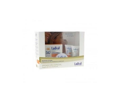 Maquilhagem compacta dourada Ladival ™ SPF50 + 10g + 3 miniaturas