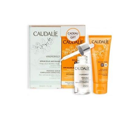 Caudalie Pack Vinoperfect: cuidado solar de rosto anti-idade SPF50+ 25ml + sérum antimanchas 30ml